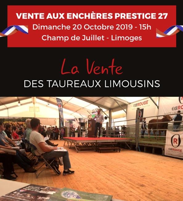 Vente Taureaux Limousins OPALIM & KBS GÉNÉTIC  – Dimanche 20 octobre 2019
